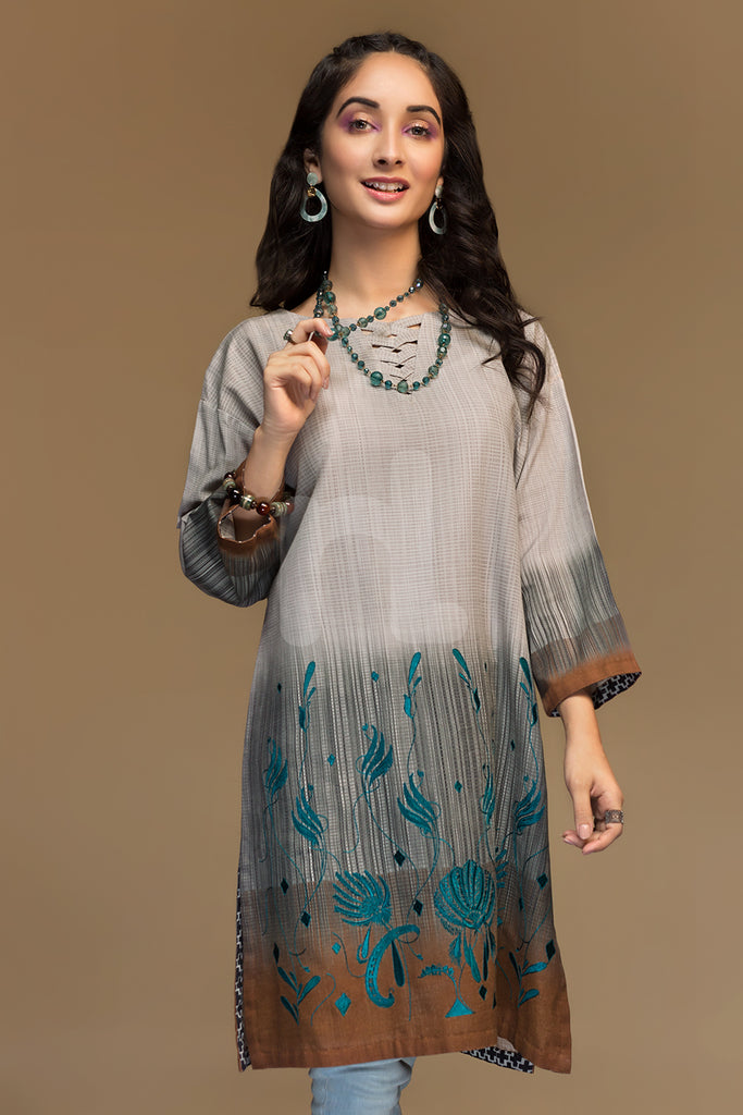 PW19-107 Grey Digital Printed Embroidered Stitched Khaddar Shirt - 1PC