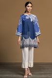 PW19-112 Blue Digital Printed Embroidered Stitched Khaddar Shirt - 1PC