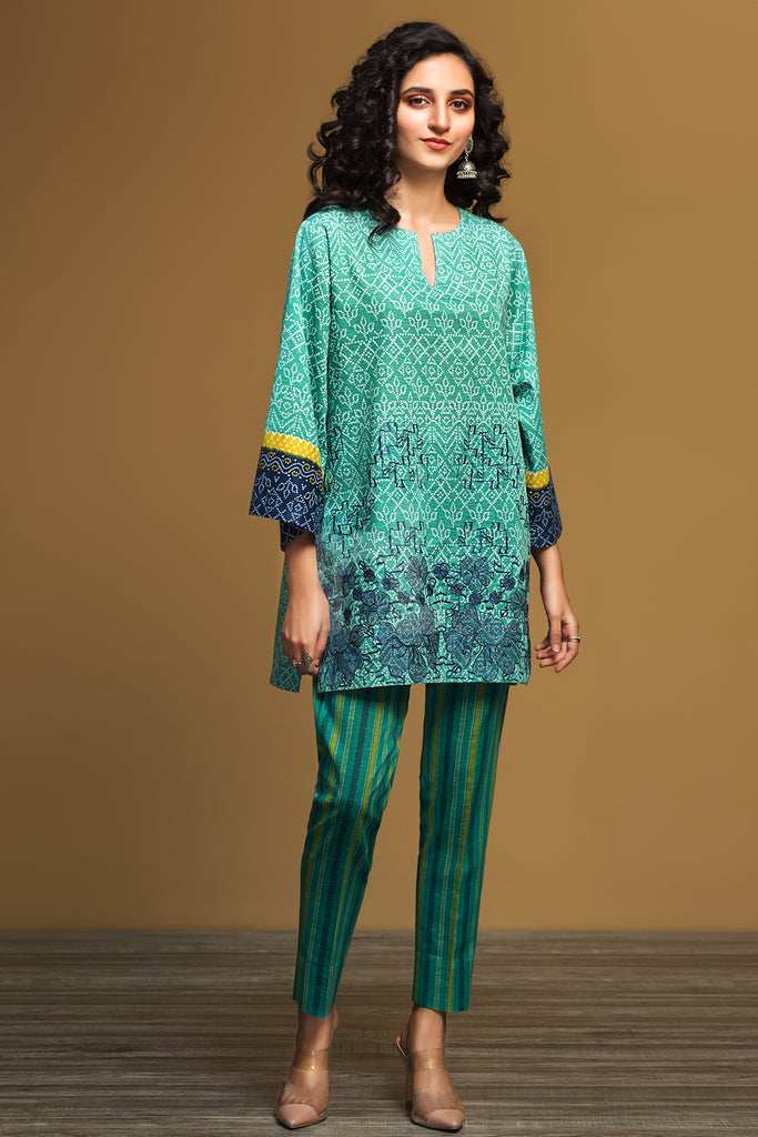 PW19-114 Green Printed Embroidered Stitched Karandi Shirt & Printed Trouser - 2PC