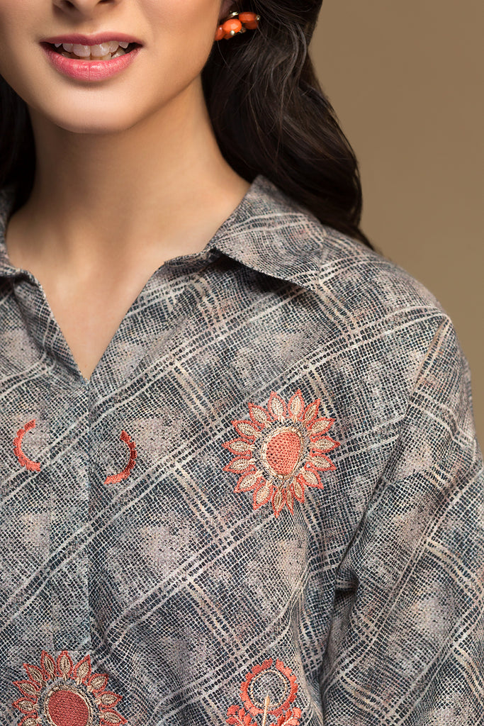 PW19-119 Grey Digital Printed Embroidered Stitched Khaddar Shirt - 1PC