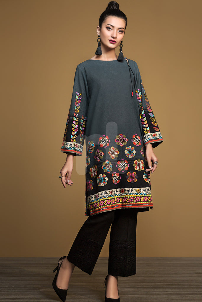 PW19-122 Grey Digital Printed Embroidered Stitched Khaddar Shirt - 1PC