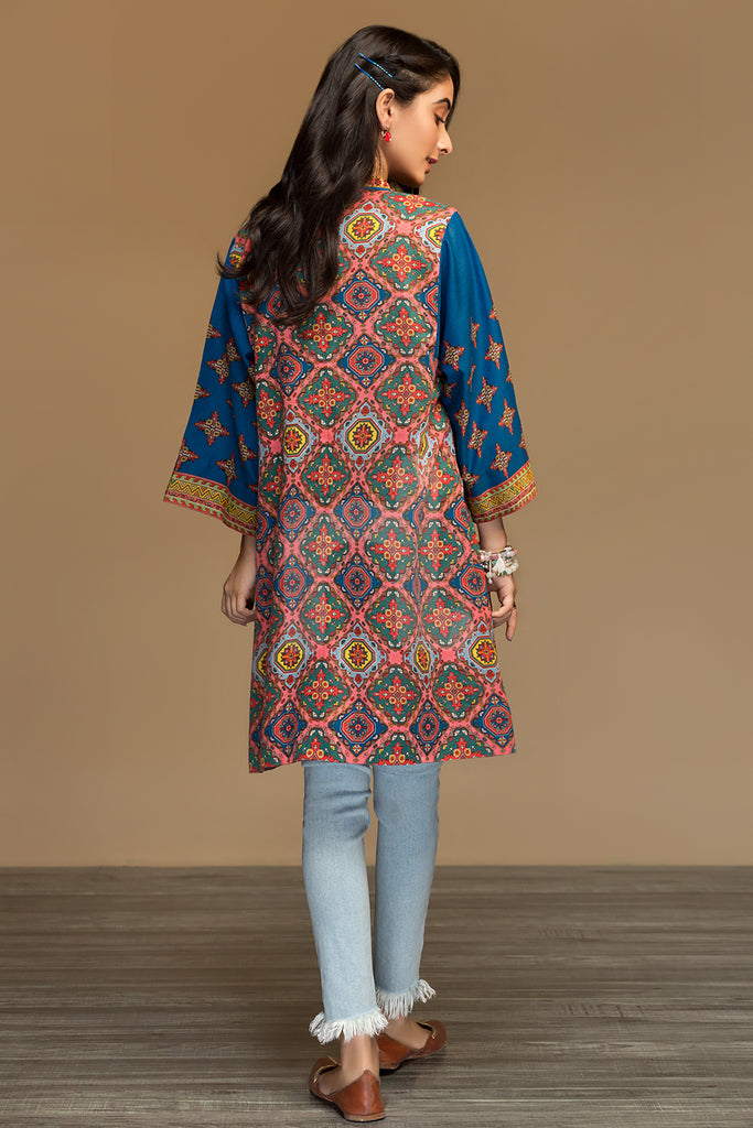 PW19-126 Blue Printed Stitched Karandi Shirt - 1PC