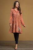 PW19-135 Orange Printed Embroidered Stitched Karandi Shirt - 1PC