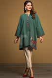 PW19-141 Green Printed Embroidered Stitched Yarn Dyed Shirt - 1PC