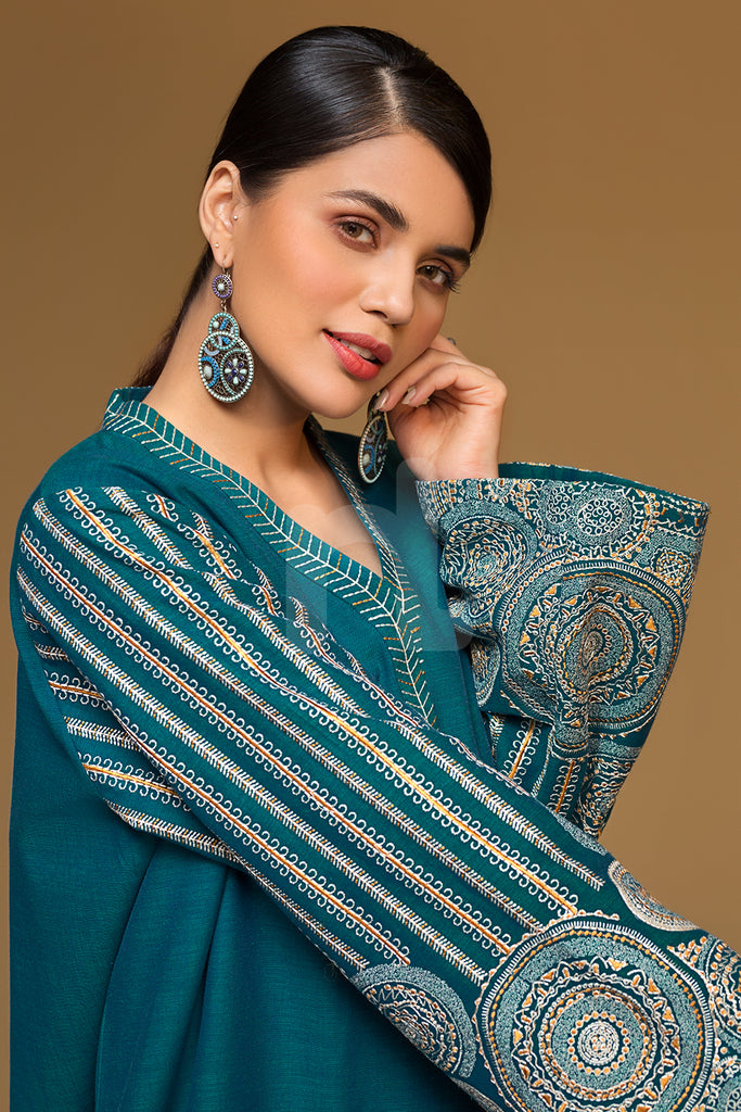 PW19-148 Green Embroidered Stitched Yarn Dyed Shirt - 1PC