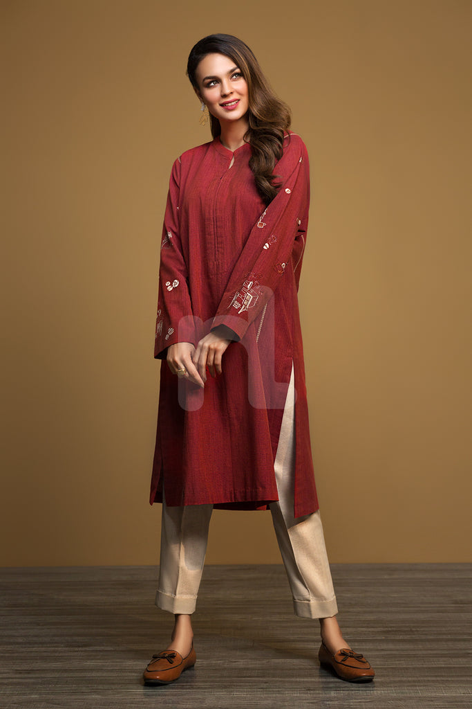 PW19-155 Red Dyed Embroidered Stitched Yarn Dyed Shirt - 1PC