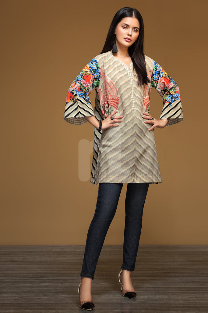 PW19-161 Beige Digital Printed Embroidered Stitched Khaddar Shirt - 1PC