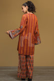 PW19-165 Orange Printed Embroidered Stitched Linen Shirt & Printed Trouser - 2PC