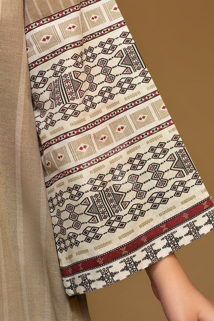 PW19-169 Skin Digital Printed Embroidered Stitched Khaddar Shirt - 1PC