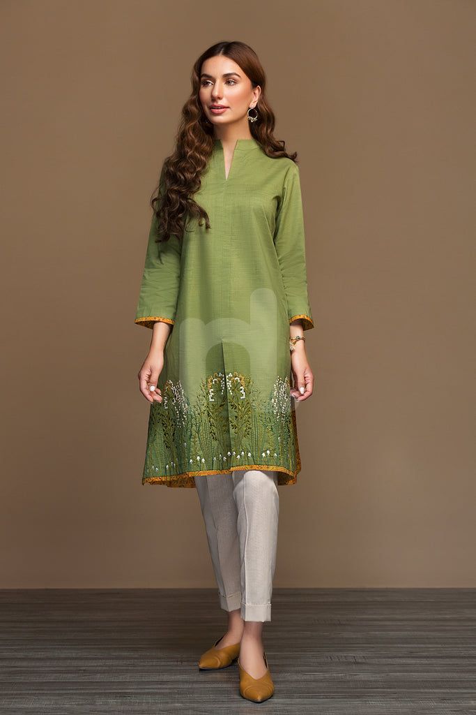 PW19-171 Green Dyed Embroidered Stitched Slub Lawn Jacket - 1PC