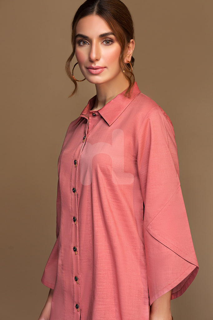 PW19-182 Pink Dyed Embroidered Stitched Slub Lawn Shirt - 1PC