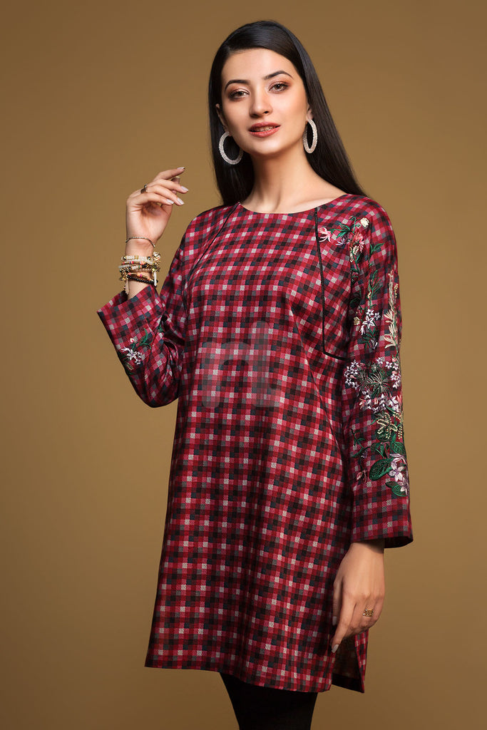 PW19-185 Red Printed Embroidered Stitched Karandi Shirt - 1PC