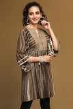 PW19-188 Brown Printed Stitched Linen Frock - 1PC