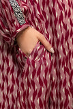PW19-192 Maroon Printed Stitched Linen Frock - 1PC