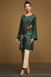 PW19-199 Green Digital Printed Embroidered Stitched Linen Shirt - 1PC