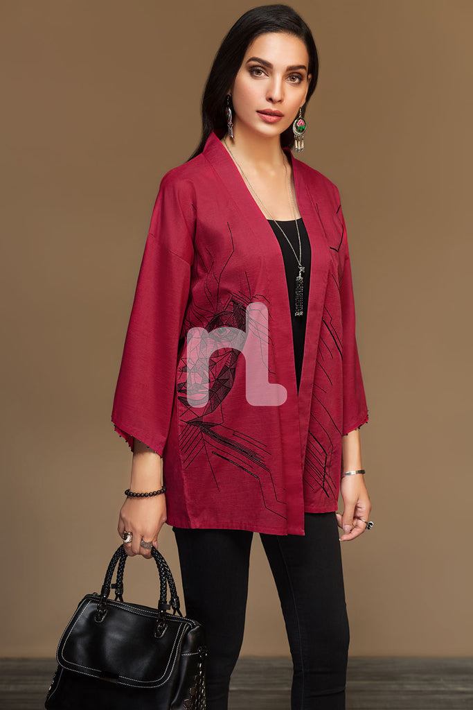 PW19-201 Red Dyed Embroidered Stitched Slub Lawn Jacket - 1PC