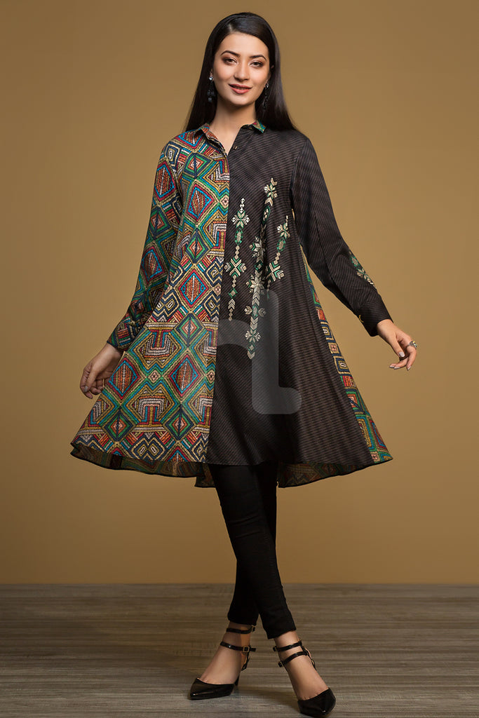 PW19-209 Black Printed Embroidered Stitched Karandi Frock - 1PC