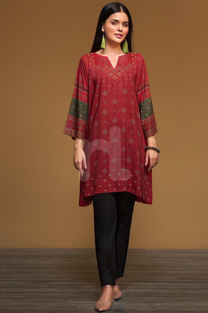 PW19-222 Red Digital Printed Stitched Linen Shirt - 1PC