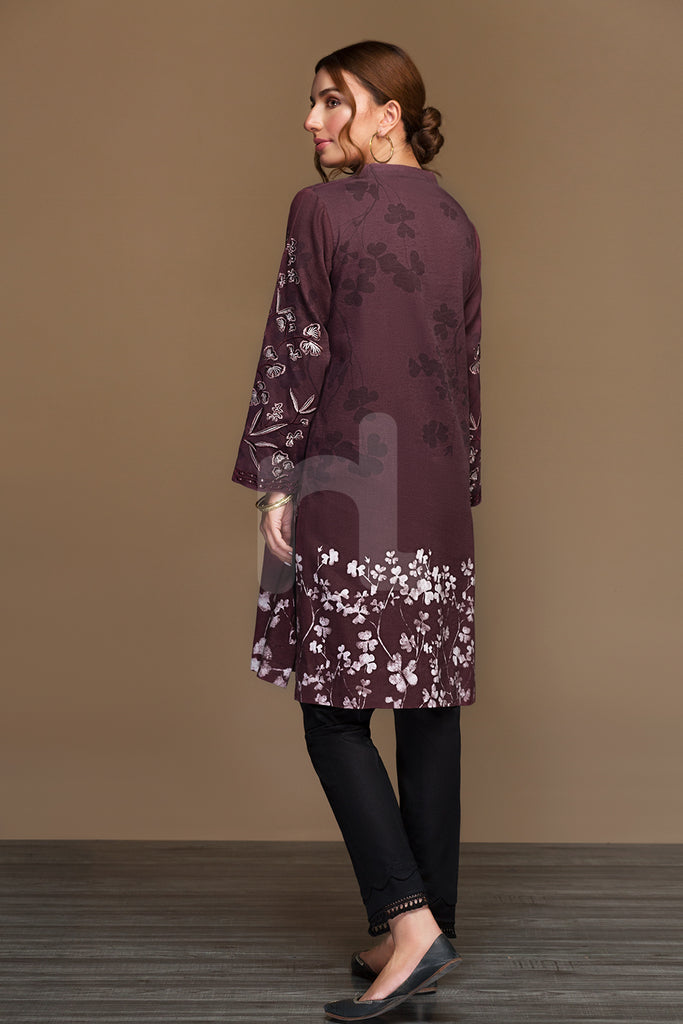PW19-49 Maroon Digital Printed Stitched Cotton Karandi Shirt - 1PC