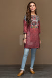 PW19-59 Red Digital Printed Stitched Linen Shirt - 1PC