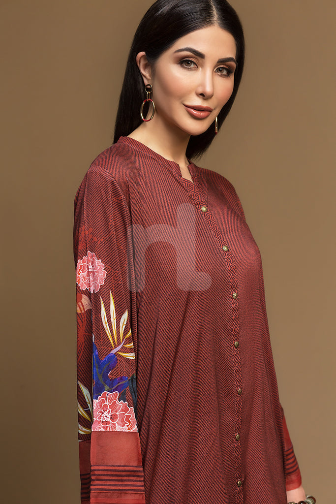 PW19-61 Brown Digital Printed Stitched Linen Shirt - 1PC