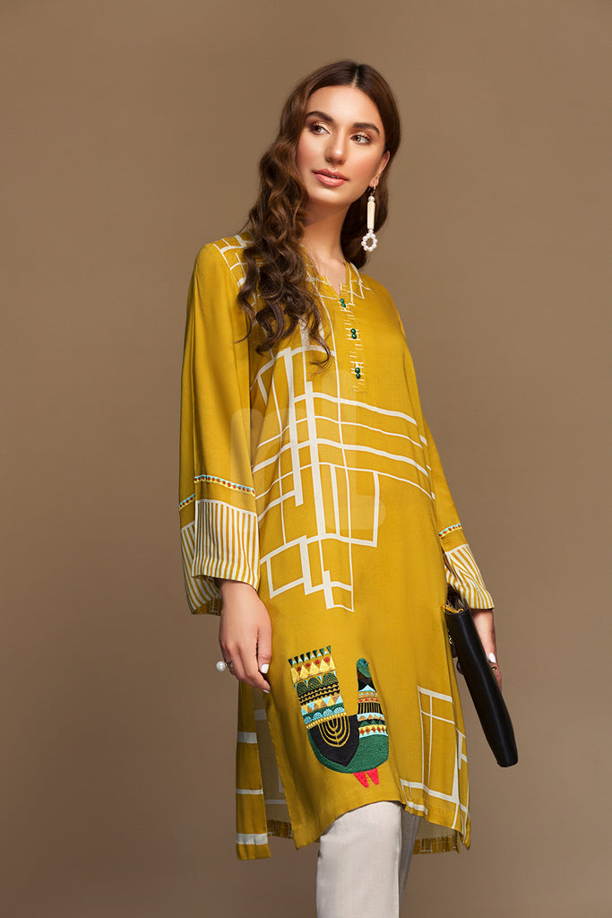 PW19-68 Yellow Digital Printed Embroidered Stitched Linen Shirt - 1PC