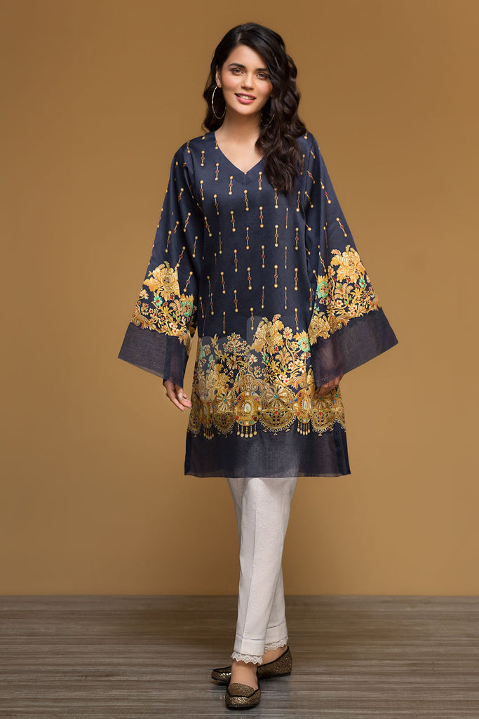 PW19-72 Blue Digital Printed Stitched Sateen Shirt - 1PC