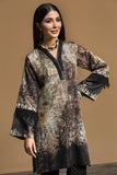 PW19-80 Brown Digital Printed Stitched Sateen Shirt - 1PC