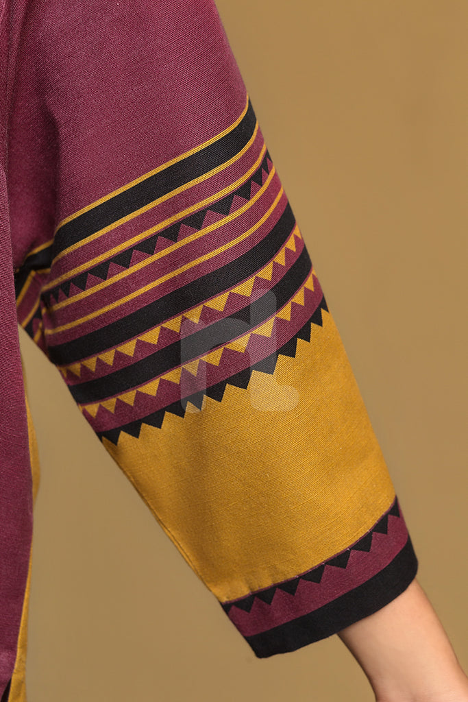 PW19-84 Yellow Printed Stitched Khaddar Shirt & Dyed Trouser - 2PC