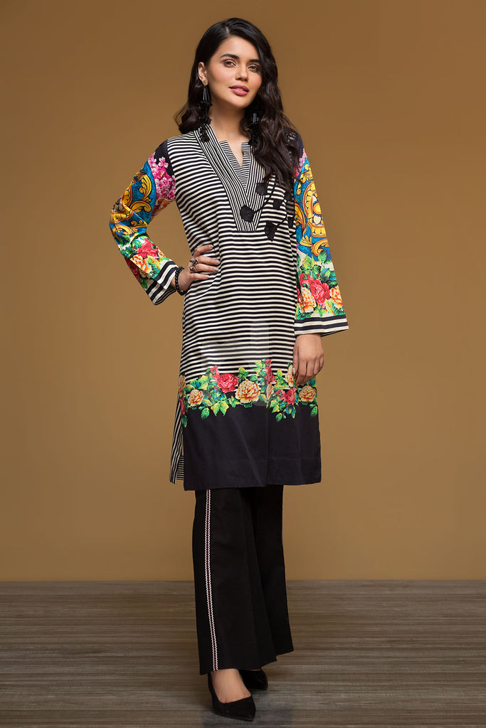 PW19-86 Black Digital Printed Embroidered Stitched Sateen Shirt - 1PC