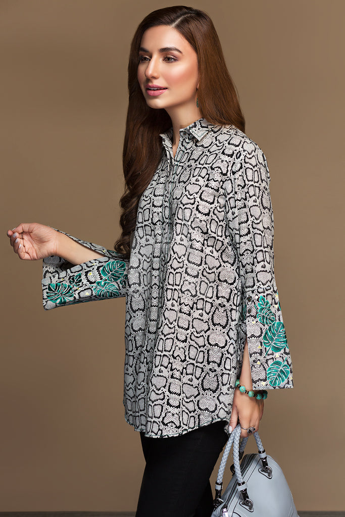 PW19-93 Black Digital Printed Embroidered Stitched Khaddar Shirt - 1PC
