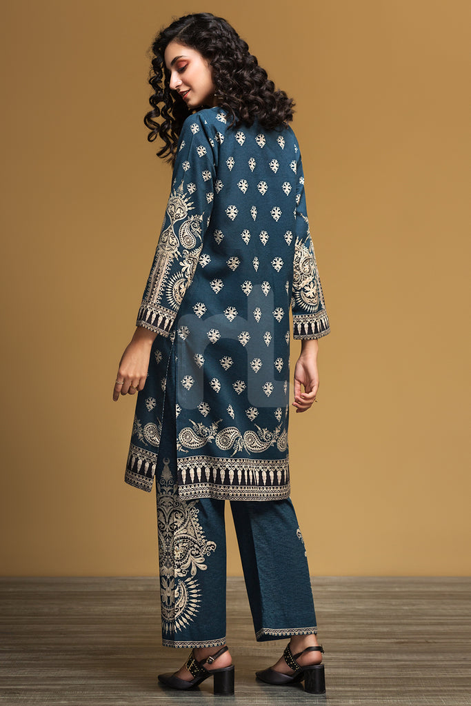 PW19-96 Blue Printed Stitched Cotton Karandi Shirt & Printed Trouser - 2PC