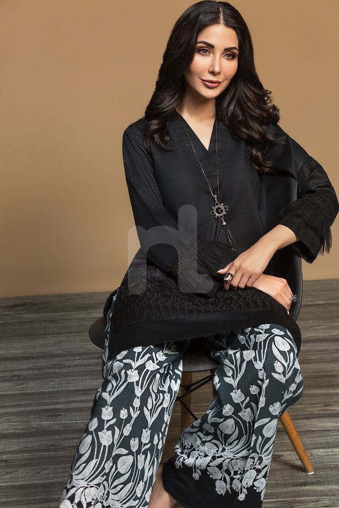 PW19-99 Black Dyed Embroidered Stitched Khaddar Shirt & Printed Trouser - 2PC