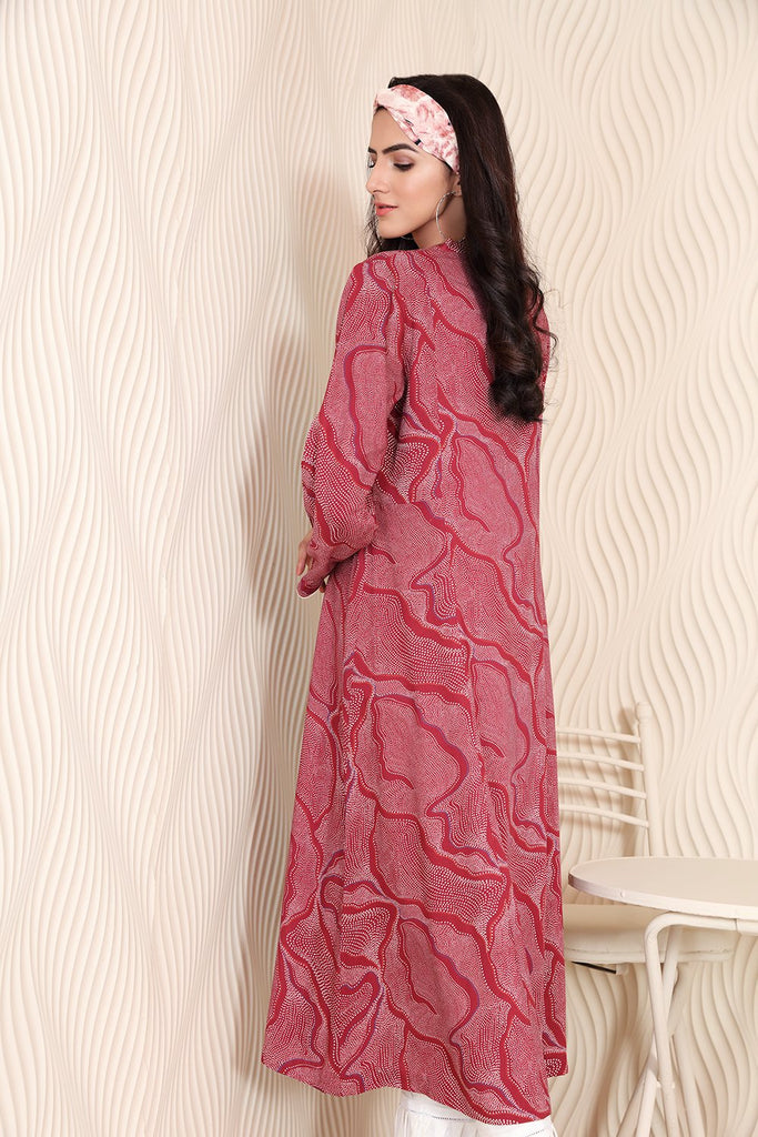 PW20-154 Printed Stitched Linen Long Dress with Mask-1PC