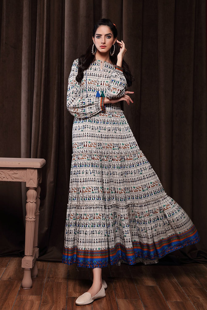 PW20-159 Printed Stitched Linen Long Dress with Mask-1PC