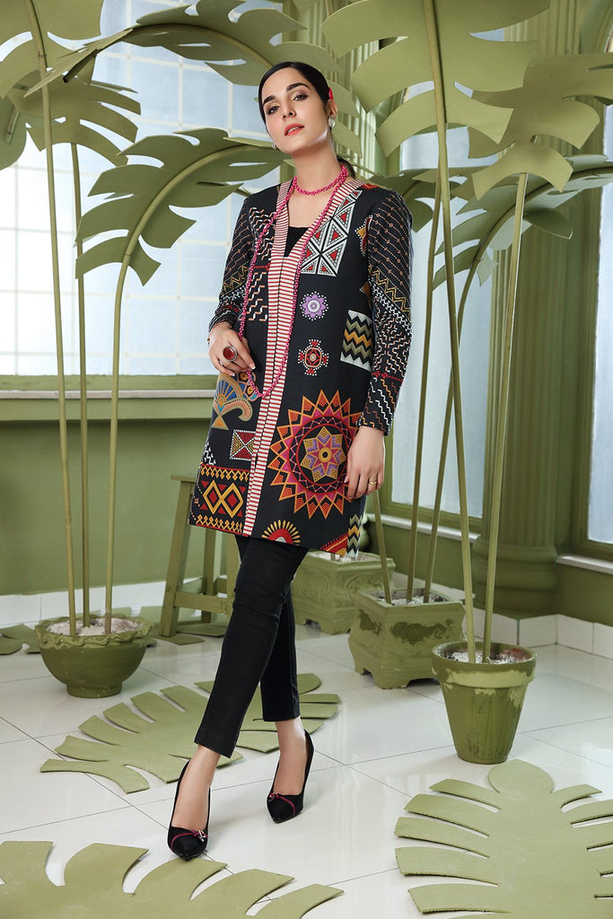 PW20-23 Printed Stitched Khaddar Jacket with Mask - 1PC