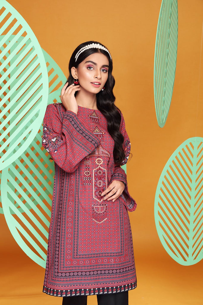 PW20-31 Digital Printed Embroidered Stitched Khaddar Kurta- 1PC