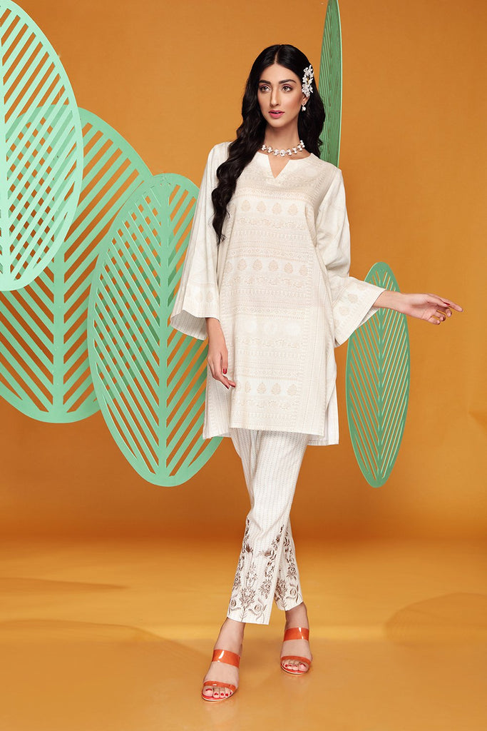 PW20-79 Digital Printed Stitched Cotton Karandi Shirt & Embroidered Trouser with Mask- 2PC