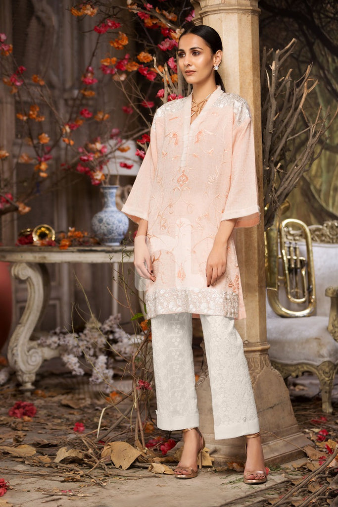 Kf-265 - Peach Embroidered Formal Stitched Cotton Shirt - 1PC