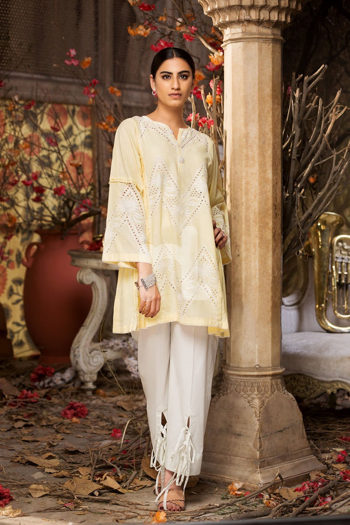 Kf-269 - Yellow Embroidered Formal Stitched Chikan Cotton Shirt - 1PC