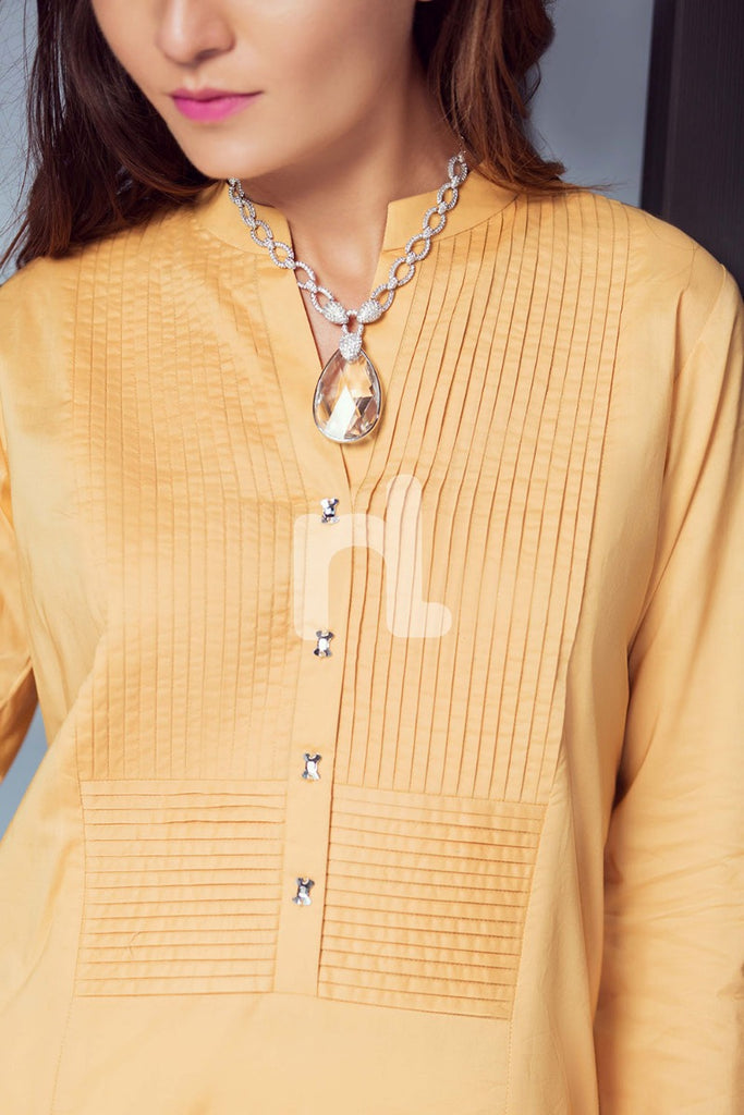 KF-289 - Yellow Dyed Formal Stitched Cotton Shirt - 1PC