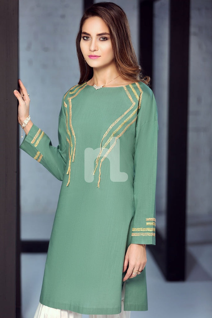 KF-293 - Green Embroidered Formal Stitched Cotton Shirt - 1PC