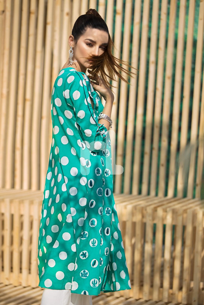 KF-378 Green Printed Embroidered Stitched Formal Lawn Shirt – 1PC
