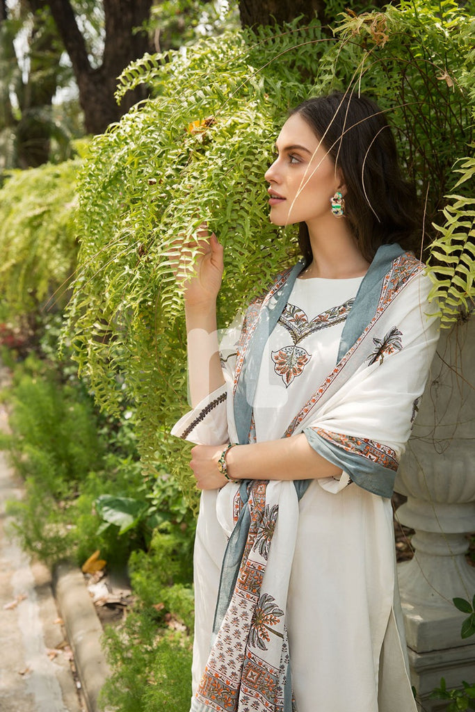 KF-465 Ivory Embroidered Stitched Formal Cotton Dress – 3PC