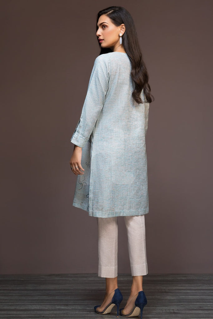 KF-487 Aqua Embroidered Stitched Formal Khaddar Shirt – 1PC