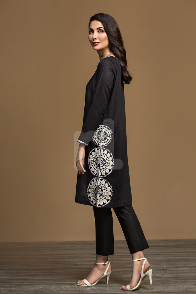 KF-536 Black Dyed Embroidered Stitched Formal Shirt – 1PC