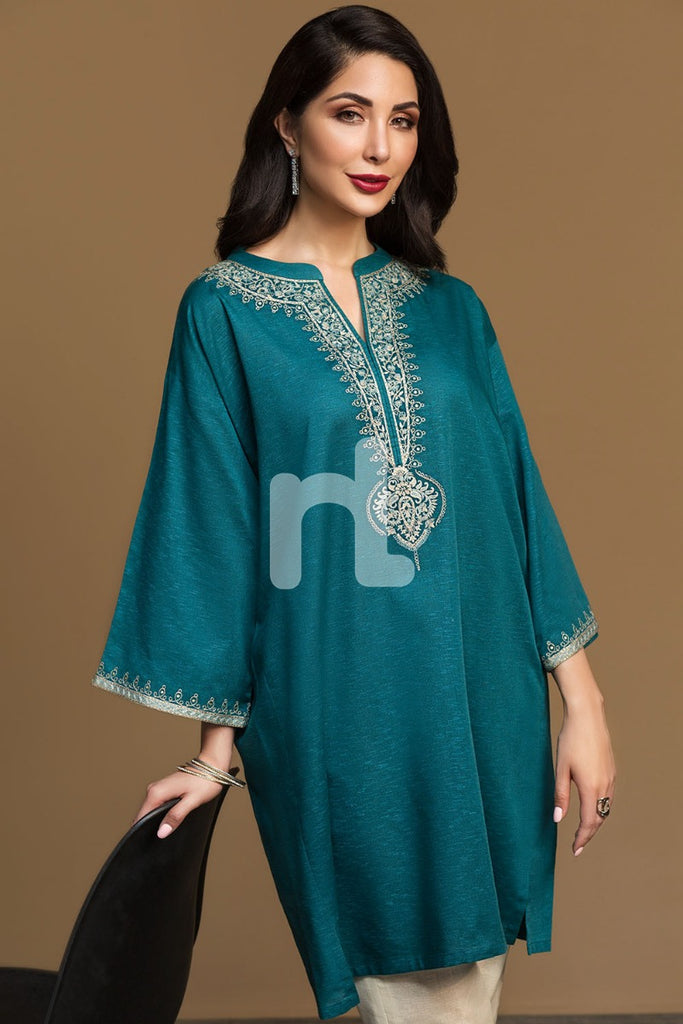 KF-537 Green Dyed Embroidered Stitched Formal Karandi Shirt – 1PC