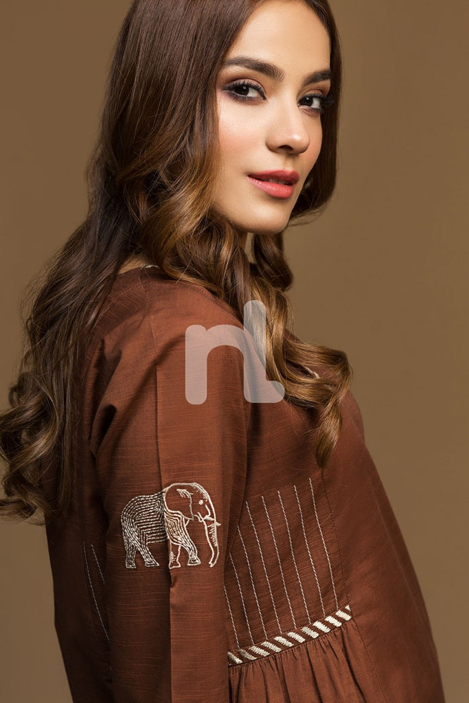 KF-538 Brown Dyed Embroidered Stitched Formal Shirt – 1PC
