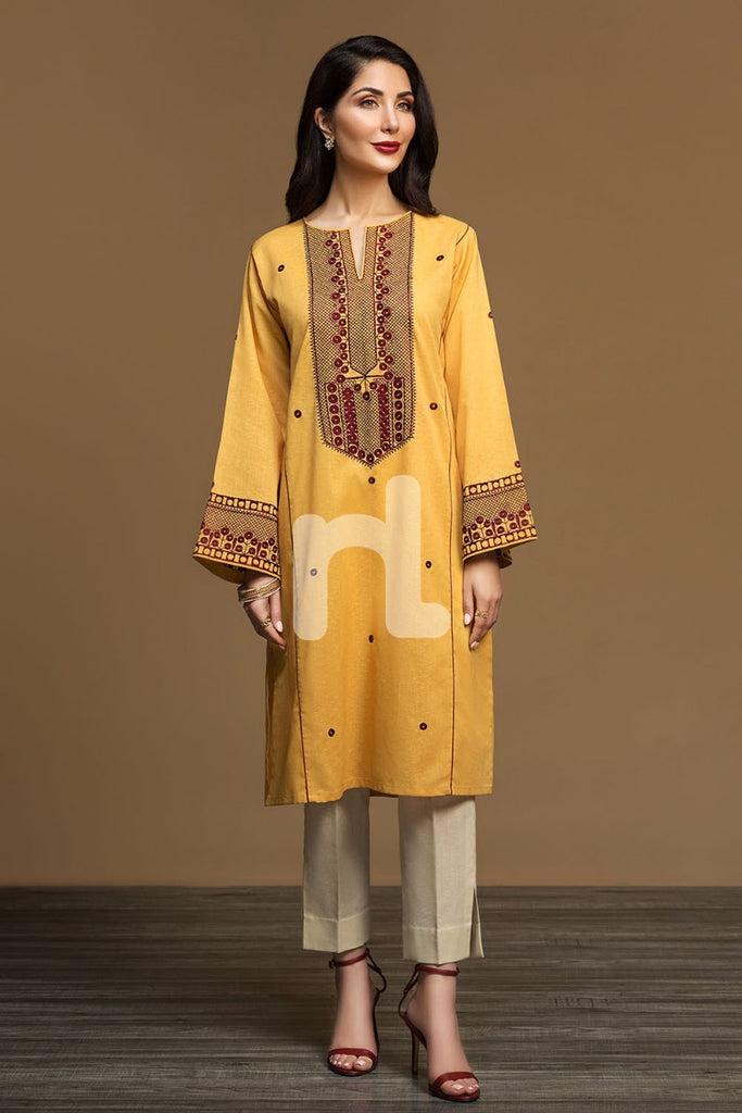 KF-545 Yellow Dyed Embroidered Stitched Formal Karandi Shirt – 1PC