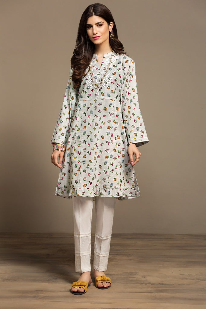 PS20-161 Printed Embroidered Stitched Slub Lawn Shirt - 1PC